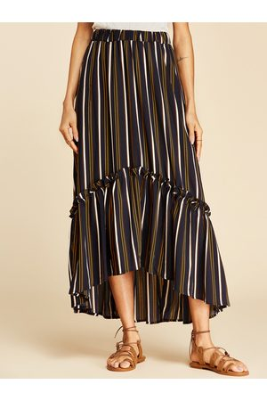 YOINS Multi Lettuce-edge Stripe Pattern Maxi Skirt