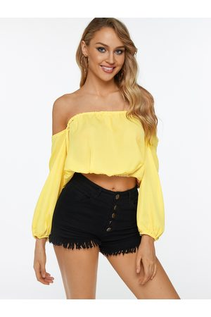 YOINS Off The Shoulder Long Sleeves Casual Crop Top
