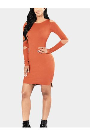 YOINS Knit Round Neck Cold Shoulder Mini Dress in