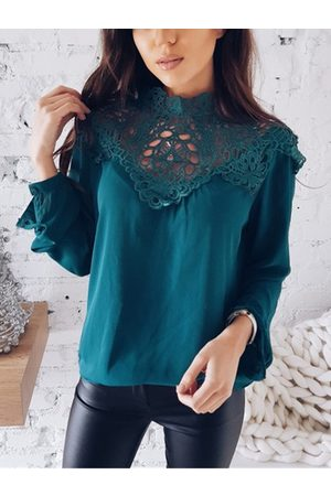 YOINS Dark Cyan Lace Insert Hollow Out Long Sleeves Chiffon Blouse