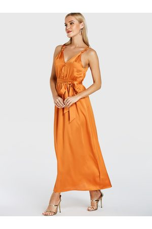 YOINS V-neck Self-tie Design Sleeveless Satin Dress