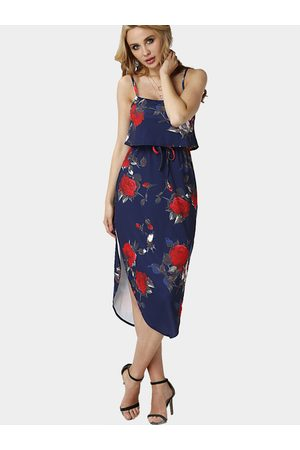 YOINS Random Floral Print Sleeveless Maxi Dress with Adjustable Straps