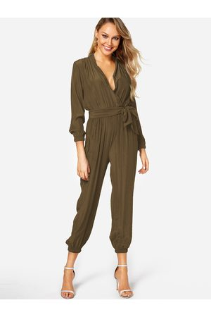 YOINS Olive Deep V Neck Self-tied Long Sleeves High-waisted Playsuit