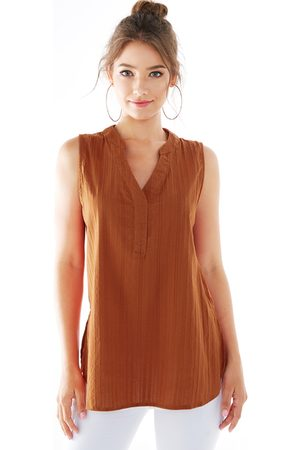 YOINS Rust Slit Design V-neck Sleeveless Tank Top