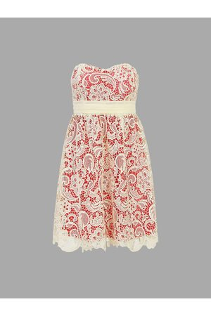 YOINS Two Layer Crochet Hollow Party Lace Dress