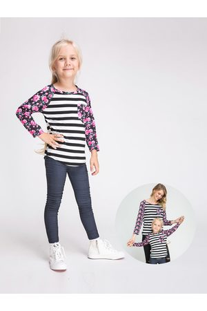 YOINS Floral Striped Print Mom and Daughter Matching T-Shirts - Daughter