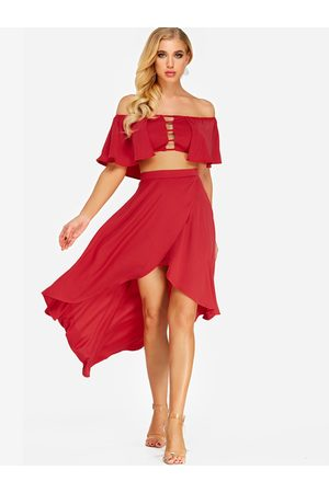 YOINS Off The Shoulder top & High-low Hem Skirt Co-ord
