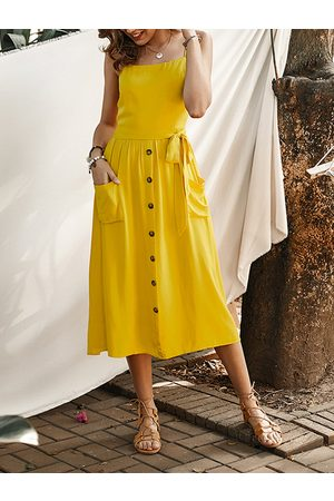 YOINS Front Button Belted Shirring Spaghetti Strap Dress