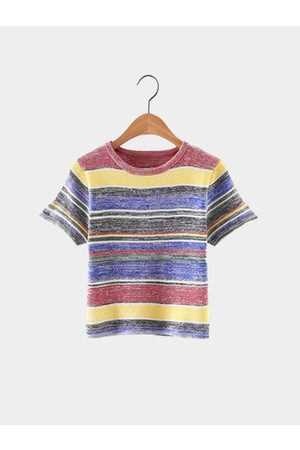 YOINS Casual Strip Details Multicolor Short Sleeve Cropped T-shirt