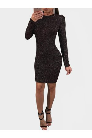 YOINS Shiny Backless Design Round Neck Long Sleeves Party Dress