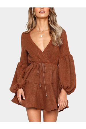 YOINS Rusty Red V-neck Lantern Long Sleeves Drawstring Waist Wrap Dress