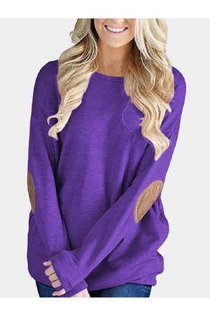 YOINS Elbow Patch Round Neck Long Sleeves Top