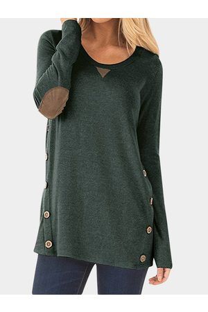 YOINS Buttons Winter Patched T-shirt