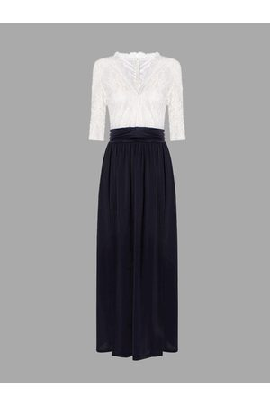 YOINS White and Blue Maxi Dress with Thigh Split
