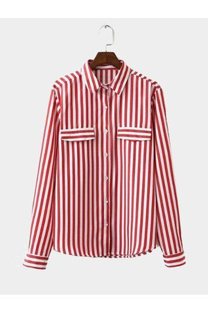 YOINS Red Classic Stripe Pattern Button Pocket Front Shirt