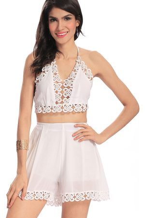 YOINS Plunge Hollow Out Halter Top & Mini Shorts Co-ord