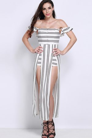 YOINS Off Shoulder Stripe Playsuit with Maxi Overlay