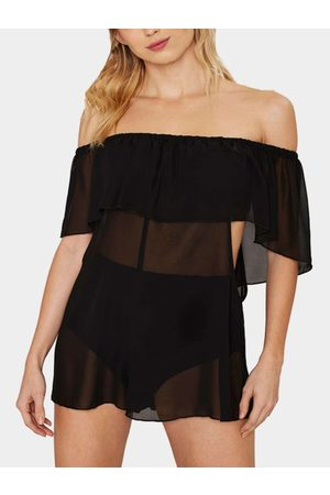 YOINS Off Shoulder Lace-up Sheer Beach Cover-up