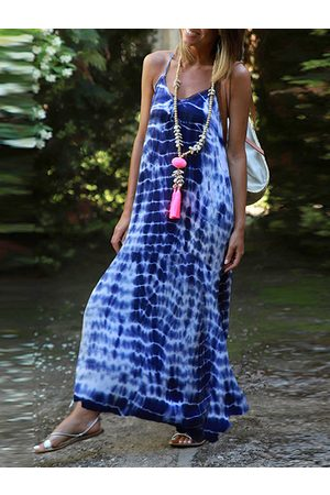 YOINS Tie Dye V-neck Sleeveless Maxi Dress