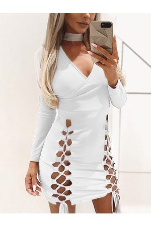 YOINS Halter V-neck Long Sleeves Lace-up Design Mini Party Dress