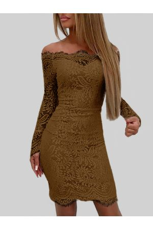 YOINS Coffee Lace Off The Shoulder Long Sleeves Bodycon Dress