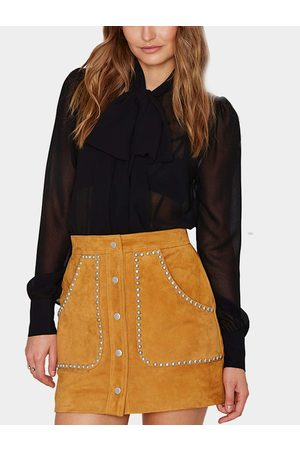 YOINS Suede Studded Mini Skirt