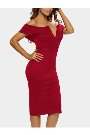 YOINS Backless Off The Shoulder V-neck Sexy Party Dress