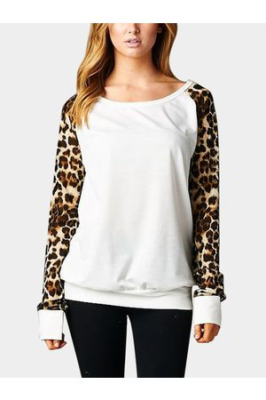 YOINS Leopard Round Neck Long Sleeves Casual T-shirt