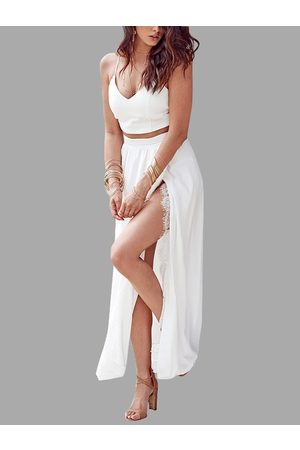 YOINS V-neck Top and Maxi Skirt Lace Hem Co-ord