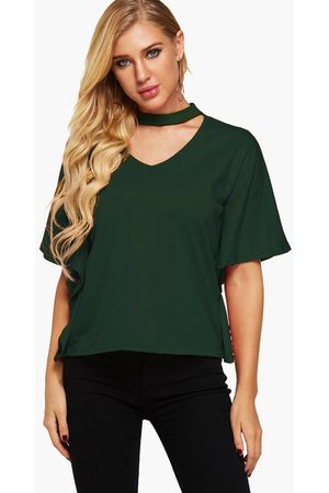 YOINS Cut Out Halter Half Sleeves Casual Top