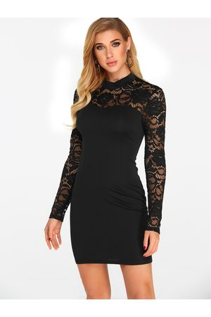 YOINS Cut Out Back Details Halter See Through Lace Insert Long Sleeves Dress