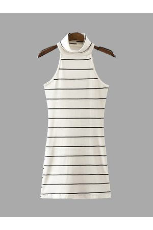 YOINS Knit High Neck Stripe Pattern Sleeveless Mini Dress