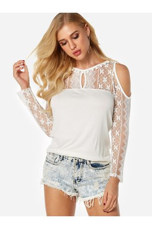 YOINS See Through Lace Insert Cold Shoulder Long Sleeves Blouses