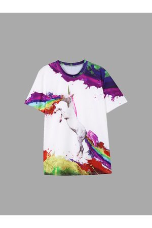 YOINS Colours Horse Pattern Round Neck T-shirts