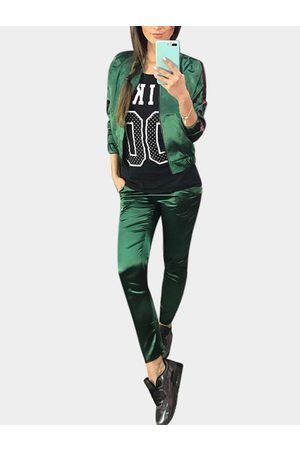 YOINS Active Causal Style Elastic Waist Sports Tracksuit in