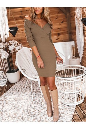 YOINS Wrap Design V Neck Long Sleeves Knit Dress