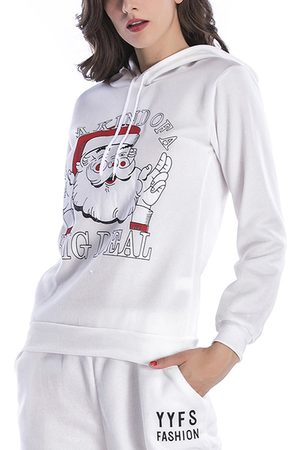 YOINS Active Round Neck Printed Design Christmas Sports Hoodies in