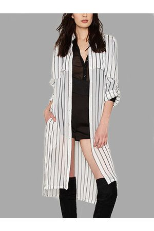 YOINS Sheer-through Vertical Stripe Single-breasted Loose Chiffon Coat