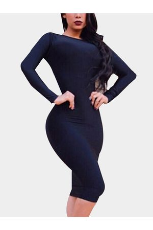 YOINS Sexy Backless Design Bodycon Long Sleeves Party Dress