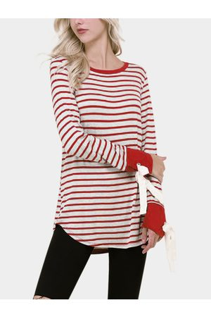 YOINS Multi Lace-up Design Stripe Round Neck Long Sleeves T-shirts