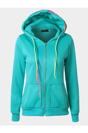 YOINS Crew Neck Hoodie with Front Pocket in Lake Blue