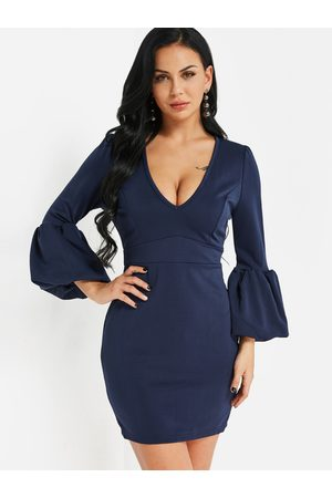 YOINS Lantern Sleeves Bodycon Mini Dress