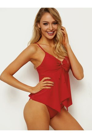 YOINS Sexy V-neck Tie-up Front Tankini