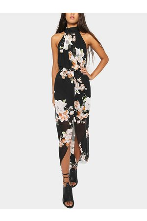 YOINS Halter Maxi Dress in Floral Print