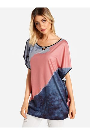 YOINS Color Block Round Neck Bat Sleeves T-shirt