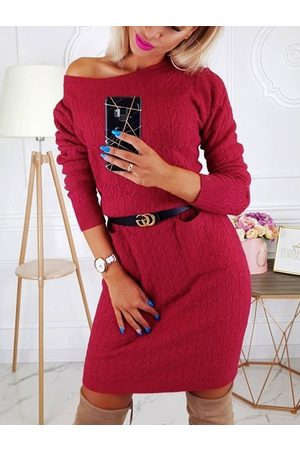 YOINS Pockets Round Neck Long Sleeves Knit Dress