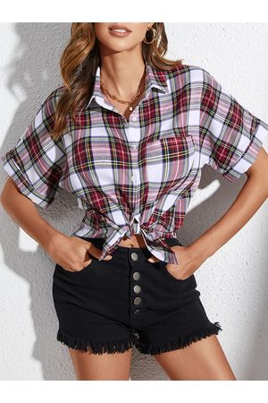 YOINS Red Plaid Button Design Classic Collar Short Sleeves Blouse