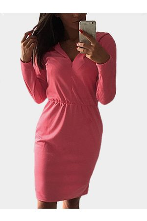 YOINS Red V-neck Long Sleeves Hooded Pencil Dress
