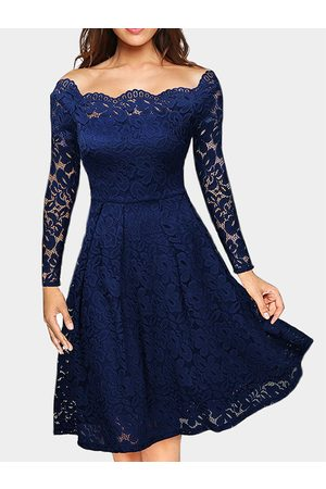 YOINS Lace Off Shoulder Long Sleeves Party Dress