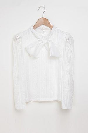 YOINS Bow-tie Lace Embellished Blouse